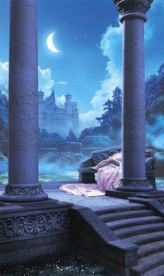 Kiss the Moon - Alan Ayers Fantasy Places, Fantasy World, Dark Fantasy, Arte Disney, Nature Aesthetic, Book Cover Art, Fantasy Inspiration, Fantasy Landscape, Fairy Tales