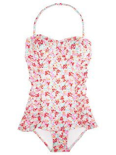 Classic swimsuit cut with a modern neon-floral twist. From J.Crew #swim