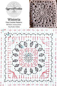 Crochet Motif Patterns, Granny Square Crochet Pattern, Crochet Diagram, Crochet Chart, Crochet Squares, Crochet Granny, Free Crochet Square, Crochet Edgings, Loom Patterns