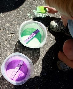 Homemade and cheap sidewalk paint that is just as fun after you've painted it (spray with vinegar and watch it fizz) as it is to paint with.