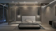 The silver tones of this bedroom are accented by simple touches of black and white that mimics the structure of the cityscape outside. Delicate textures in the accent wall, rug, and pale wood floor bring points of interest to the room.