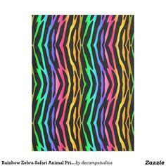 Rainbow Zebra Safari Animal Print Fleece Blanket