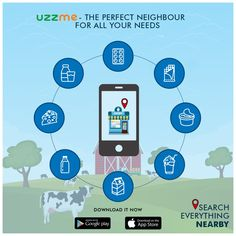 New to location and searching for dairy products store ? Don't know where can you get the quality dairy products near by? Install UzzMe App and find the with ease. App Store, Google Play, Searching, Dairy, Products, Search