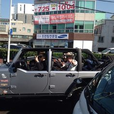 Big Bang Spotted Driving Around Jeju (150519)