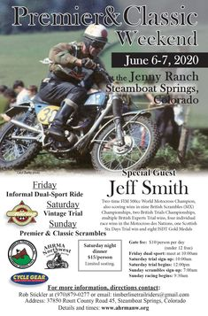 Vintage racing, trials with Jeff Smith! Jeff Smith, Motorcycle Posters, Dual Sport, Steamboats, Vintage Racing, Great Friends, Special Guest, Motocross, Welding