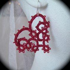 Tatted Lace Earrings With All My Heart Burgundy by TotusMel