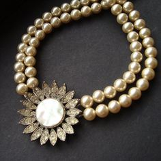 Antique Mother of Pearl Paste Pendant and Cream Rosita Pearl Necklace