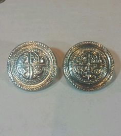 Vintage Givenchy Coin Celtic Silver Tone Pierced Earrings in Earrings | eBay