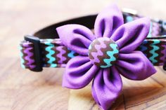 Every girl deserves one of these! Adjustable ZigZag Dog Collar with Purple Flower. $35.00, via Etsy.