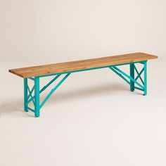 teal bench with wood top | indoor or outdoor | I would love this bench in a modern entryway.
