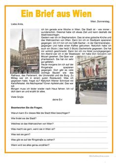 A letter from Vienna – perfect - Education Subject Study German, German English, German Grammar, German Words, Spanish Activities, Teaching Spanish, Teaching French, Japanese Language, French Language