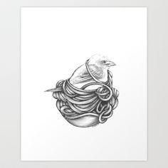 Tangled- Little Finch Art Print by Jess Polanshek - $17.00
