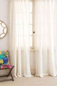 "Pom Tassel Curtain - anthropologie.com84""W $88"