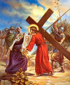 """† VI. LA VERÓNICA ENJUGA EL ROSTRO DEL SEÑOR JESÚS. """"Le golpeaban la cabeza con una caña y le escupían"""". Mc 15, 19. Por las humillaciones recibidas: perdón, Señor, piedad. Si grandes son mis culpas, mayor es tu bondad."""
