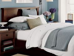 Shop our selection of stylish and traditional beds and bed frames at Pottery Barn. Design your bedroom oasis with expertly crafted beds in full, queen and king sizes. Blue Master Bedroom, Home Bedroom, Bedroom Furniture, Home Furniture, Bedroom Ideas, Bedrooms, Bedroom Color Schemes, Bedroom Colors, Wooden Platform Bed