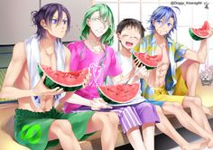 Image d'anime avec yowamushi pedal toudou jinpachi sangaku manami makishima yuusuke onoda sakamichi kisaragi mizu long hair short hair blue eyes open mouth black hair smile fringe blue hair sitting purple hair ponytail looking away green hair ahoge Cute Anime Boy, Anime Love, Anime Guys, Otaku Anime, Manga Anime, Anime Art, Planet Tattoos, Anime Watch, Yowamushi Pedal