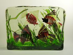 CENEDESE Murano Glass - Large (4)  Fish / Aquarium Block des. Ricardo Licatta
