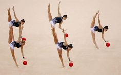 The Spanish gymnastics team performs their routine during the group all-around rhythmic gymnastics qualification match at the 2012 Summer Olympics on August Gymnastics Events, Gymnastics Team, Rhythmic Gymnastics, Sports Gif, Sports Photos, Live Picture, Picture Blog, Weekender, Ballet