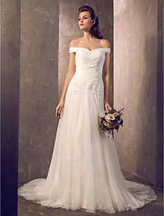 LOVE LOVE LOVE THIS ONE TOO!  Sheath/Column Off-the-shoulder Sweep/Brush Train Tulle Wedding... – USD $ 199.99