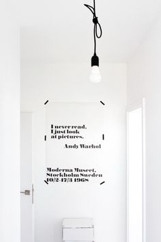 cable lamp, white hallway, Andy Warhol quote, white interior, Scandinavian interior, Nordic interior frichic.com