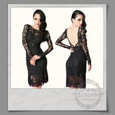 #Open #Back #Long #Sleeve #Black #Lace #Dress