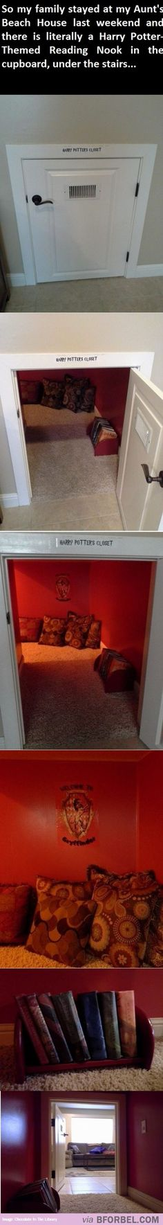 I want this in my house!// I wouldn't label the door. I would put blankets in the front to hide it, yea know, so I can hide from the muggle world.