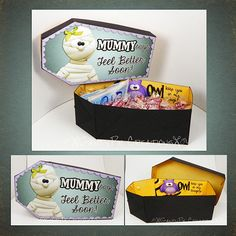 """Heard you coffin"" Mummy box  - get well soon! Very clever."