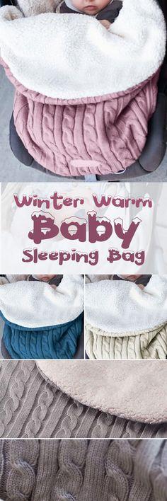 US$17.99 -Baby Sleeping Bag Winter Warm Wool Knitted Hoodie Swaddle Wrap Cute Soft Infant Blanket#newchic#baby#crochet