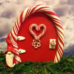Magical Peppermint Gnome Fairy Door by dragonsdreamsdesigns