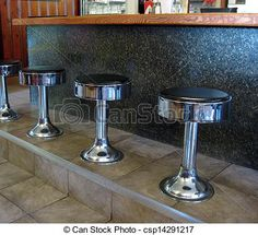 A row of stools at the diner.