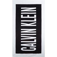 Calvin Klein Intense power beach towel ($68) ❤ liked on Polyvore featuring home, bed & bath, bath, beach towels, black, women, calvin klein, cotton beach towels and black beach towel