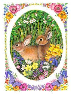 Spring Bunnies Art of Anne Mortimer