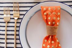 Oh Joy   Make napkin rings out of ice cream cones by heating them in the oven for 5 minutes at 400 degrees. Then cut with scissors before it cools.