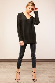 Jet Set Oversized V Neck Sweater - Black RESTOCKED!