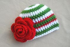 Christmas Baby Hat Christmas Newborn Hat, I could make this easy, just need to get the yarn, think I'll make it big enough for her to wear next year though, since she might not come until after Christmas.