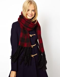 $23, Burgundy Plaid Scarf: Asos Brushed Check Knit Scarf. Sold by Asos. Click for more info: http://lookastic.com/women/shop_items/123724/redirect