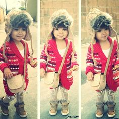 #winter #outfit #red #shoulder #bag #stripes #furry #hat #cold #day #toddler #fashion