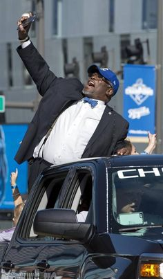 Mayor Sly James celebrated as he rode down Grand Boulevard during the World Series victory parade which celebrated the Royals 2015 World Series Championship on Tuesday, Nov. 3, 2015, in downtown Kansas City.