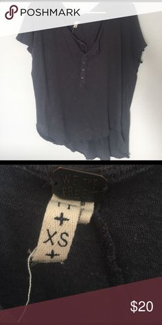 Free People top! Oversized, charcoal grey Free People short sleeve Henley. Size XS. Worn once. Tops Tees - Short Sleeve