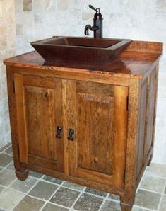 Finally, if you just really love the idea of a copper sink, but find copper bathroom vanities a little overwhelming, look for a vanity with a wood tone that compliments the color of aged copper. Description from homethangs.com. I searched for this on bing.com/images