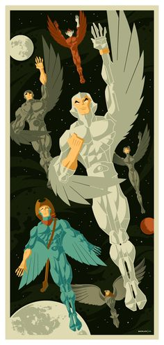 Silverhawks Beautiful Modern Vintage Illustration by Tom Whalen  I used to love the Silverhawks!