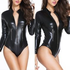 c2ec95a51ac Sexy Women Faux Leather PVC Wet Look Bodysuit Catsuit Leotard Top Thong  Clubwear