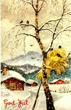 Christmas Postcards, Christmas Cards, Old Time Christmas, Old Postcards, Norway, Magic, Winter, Painting, Vintage