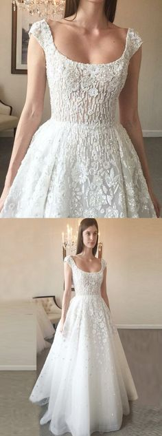 elegant a-line wedding dresses with pearls appliques, fashion square neck  wedding gowns with cap sleeves, #wedding