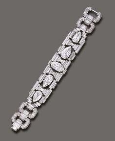 The Doris Duke Collection of Important Jewelry. A magnificent Art Deco diamond bracelet, by Cartier