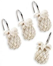 Home Bathroom Pineapple Glide Hanging Shower Curtain Hooks Rings Set of 12 NEW
