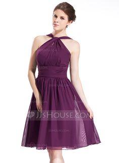 Bridesmaid Dresses - $99.99 - A-Line/Princess Halter Knee-Length Chiffon Bridesmaid Dress With Ruffle (007026277) http://jjshouse.com/A-Line-Princess-Halter-Knee-Length-Chiffon-Bridesmaid-Dress-With-Ruffle-007026277-g26277