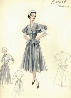 A beautiful fashion sketch by Madame Gres. Madame Gres, Vintage Fashion Sketches, Illustration Mode, Fashion Illustration Sketches, Fashion Drawings, Fifties Fashion, Retro Fashion, Fashion Art, Fashion Design