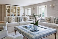 A fresh and welcoming drawing room in the country - the tall bookcase draws the eye upwards making the ceiling seem higher while the big sofas and glass topped stool give the scale to the room. Living Room Inspiration, Interior Design Inspiration, Chelsea Textiles, Cornish Cottage, Big Sofas, Georgian Homes, Drawing Room, Interior Design Services, Living Spaces