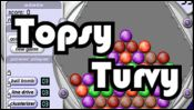 Topsy Turvy - Bust as many metal balls as possible in each 60 second round by clicking on clusters of 3 or more of same color.